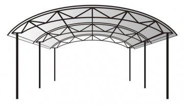 Навес металлический с полукруглой крышей